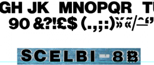 Helvetica bold overlaid on top of SCELBI-8B logo