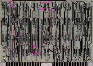 Back of SCELBI O-Scope Digital Board with rework highlighted